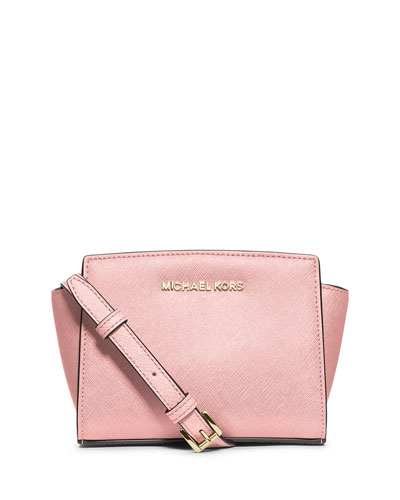 Selma Mini Saffiano Messenger Bag, Blossom