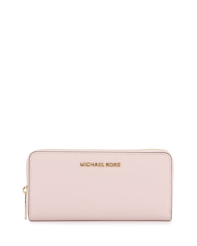 Jet Set Continental Leather Wallet, Blossom
