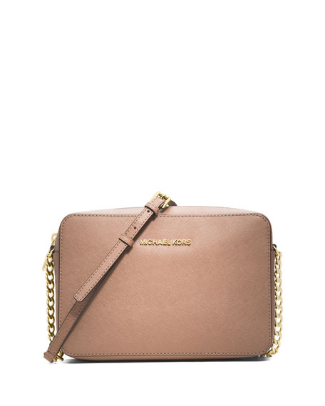 Jet Set Travel Saffiano Crossbody Bag, Blush