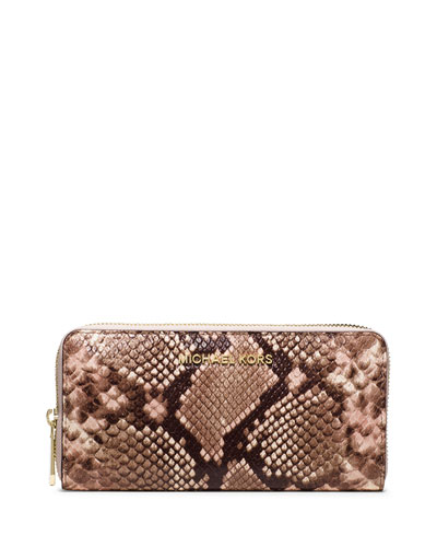 Jet Set Travel Python-Embossed Wallet, Blossom