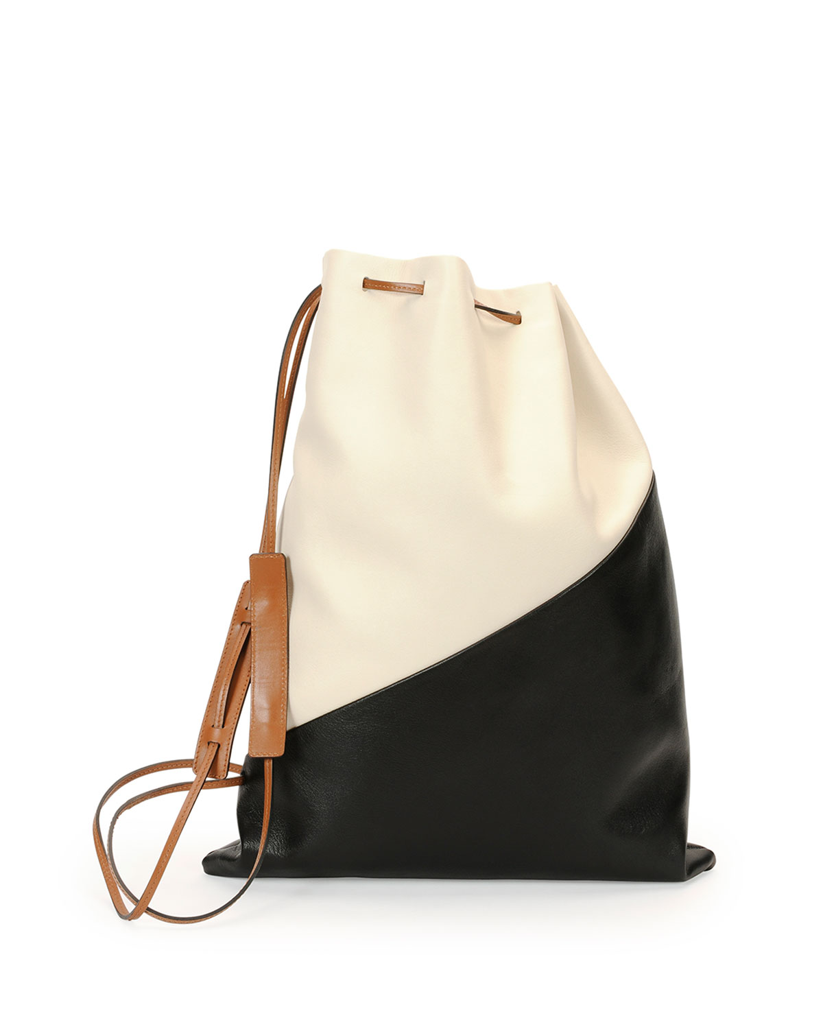 Bicolor Leather Laundry Bag White Black