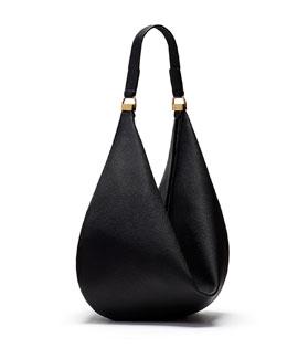 Sling 12 Calfskin Hobo Bag, Black
