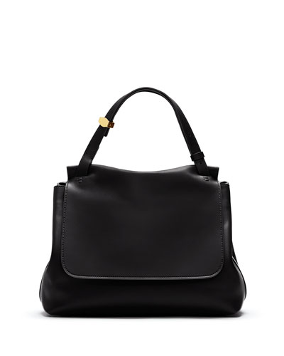 Sidekick Calfskin Flap Bag, Black