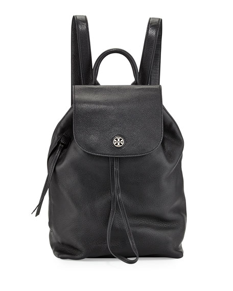 Brody Pebbled Leather Backpack, Black