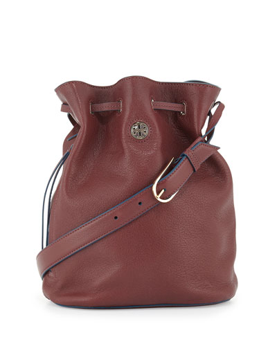 Brodie Pebbled Leather Bucket Bag, Deep Berry