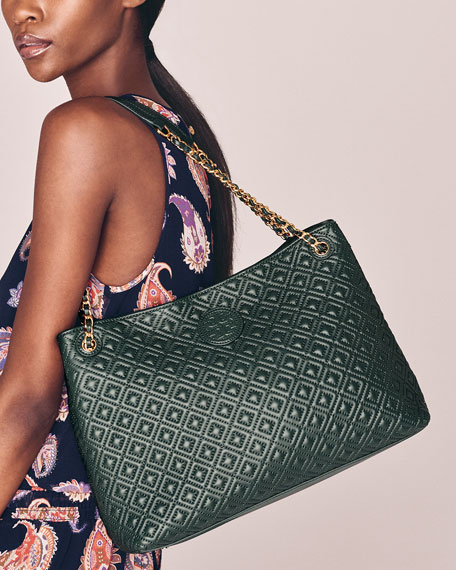 Tory Burch Marion Quilted Slouch Shoulder Bag Jitney Green Neiman