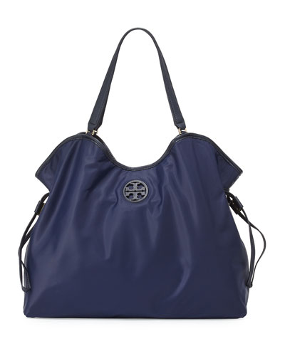 Slouchy Nylon Tote Bag, Tory Navy