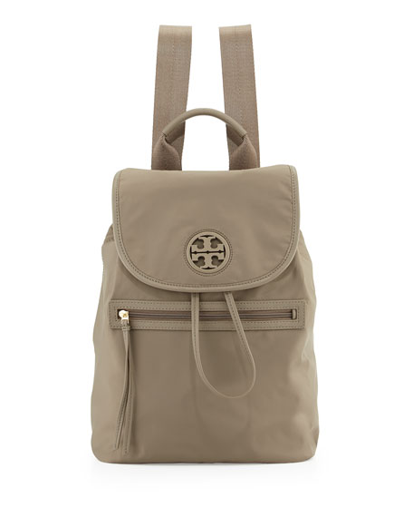 Tory Burch Slouchy Nylon Backpack, Porcini