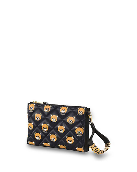 Quilted Teddy Bear Clutch Bag