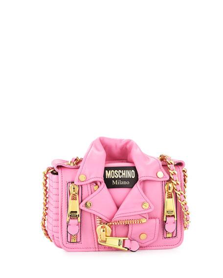 Leather Moto Jacket Shoulder Bag, Pink