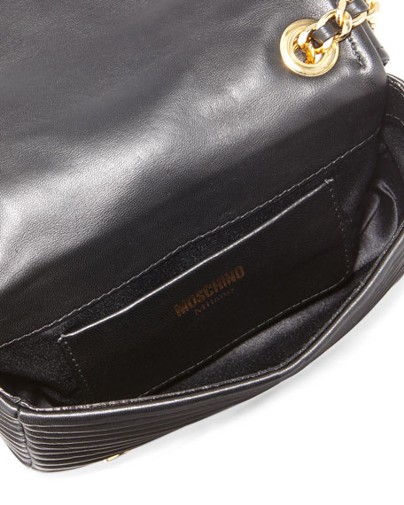 Leather Moto Jacket Shoulder Bag, Black