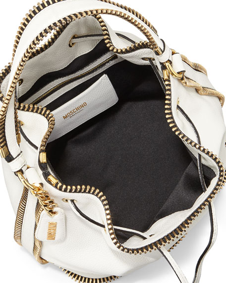 Bucket Bag with Exposed Zipper, White