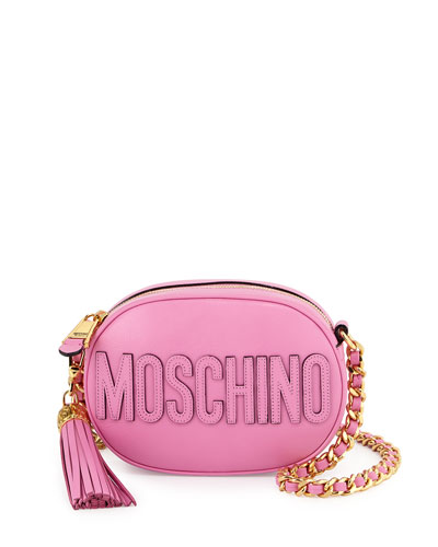Tassel Shoulder Bag w/Chain Strap, Pink