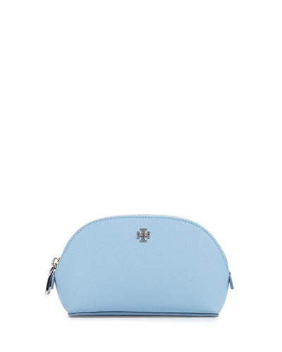 York Small Leather Makeup Bag, Fairview Blue
