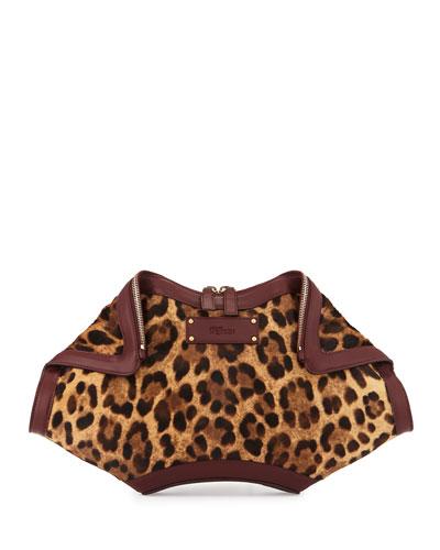 De-Manta Pony Hair Clutch Bag, Leopard Print