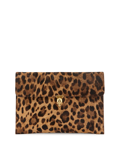 Leopard-Print Pony Hair Envelope Clutch Bag