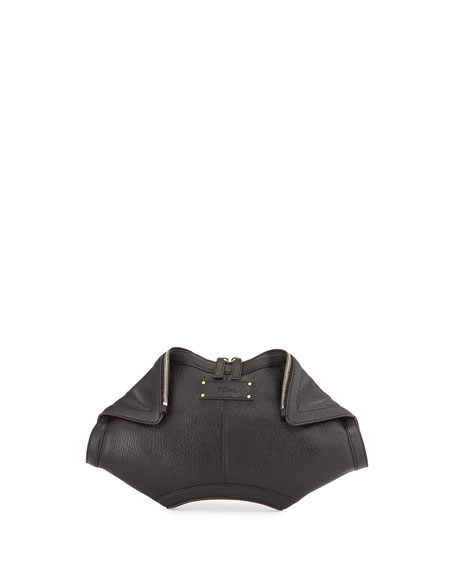 Alexander McQueen De-Manta City Zip Clutch Bag, Black