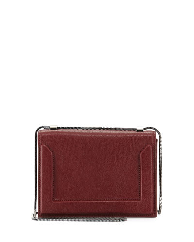 Soleil Mini Chain Shoulder Bag, Burgundy