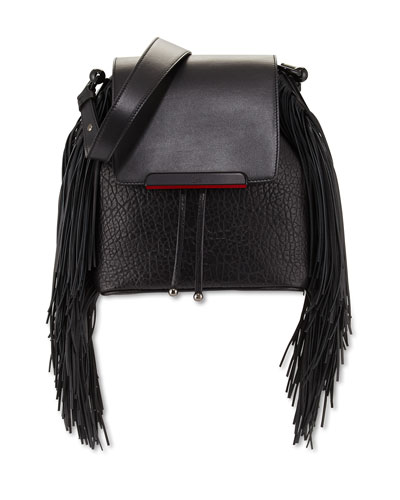Lucky Fringe Bucket Bag/Backpack, Black