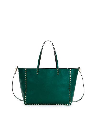 Rockstud Medium Reversible Tote Bag, Green/Black