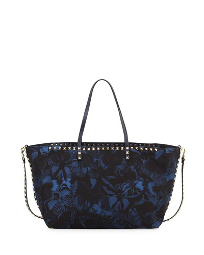 Camu Butterfly Printed Nylon Tote Bag, Marine