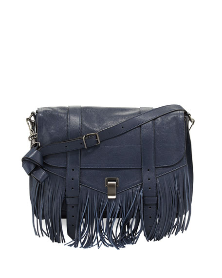 Proenza Schouler PS1 Fringe Runner Satchel Bag, Midnight