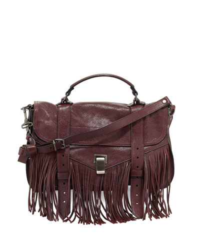 PS1 Medium Fringe Satchel Bag, Oxblood