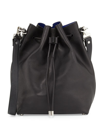 Large Bucket Bag w/Pouch, Black/Ultramarine