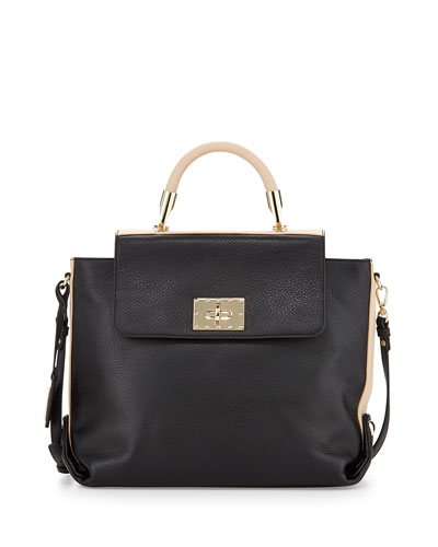 Adeline Leather Two-Tone Satchel Bag, Black/Latte