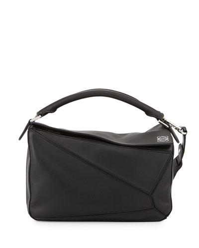 Small Puzzle Satchel Bag, Black