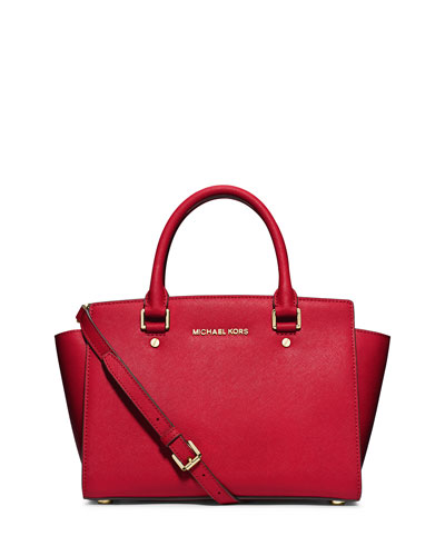 Selma Saffiano Satchel Bag, Chili