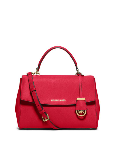 Ava Medium Saffiano Satchel Bag, Chili