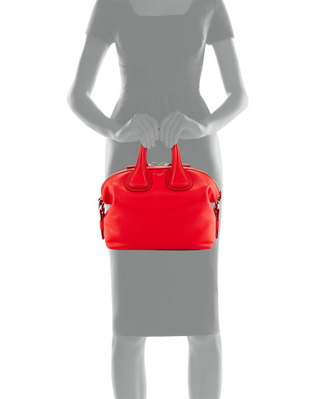 Nightingale Small Waxy Leather Satchel Bag, Bright Red