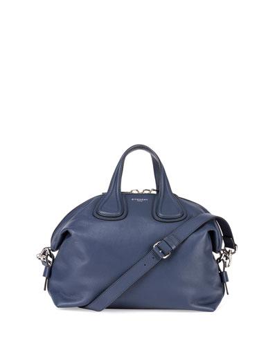 Nightingale Medium Waxy Leather Satchel Bag, Dark Blue