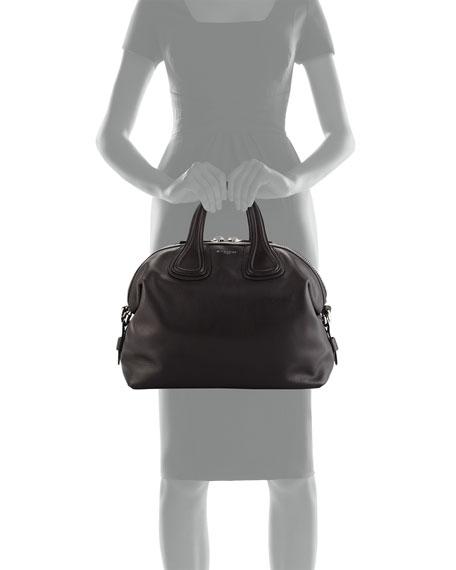Nightingale Medium Stud-Strap Satchel Bag, Black