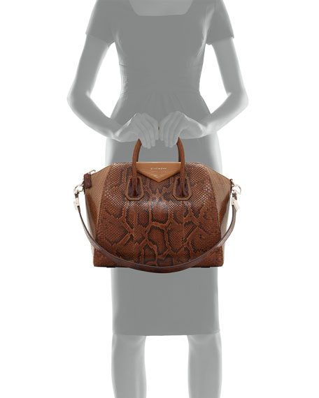 Antigona Mixed-Exotic Satchel Bag, Light Brown Multi