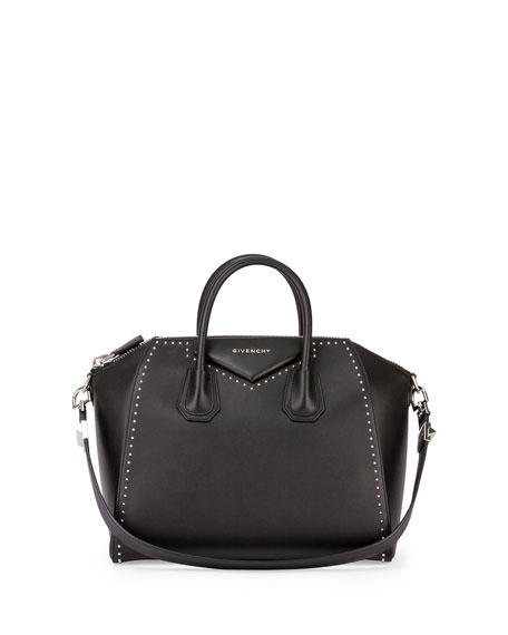 Givenchy Antigona Medium Studded Satchel Bag, Black | Neiman Marcus
