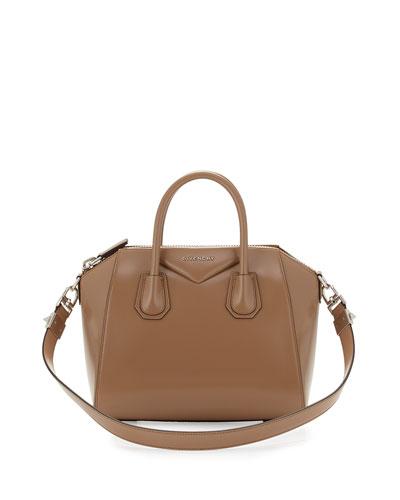 Antigona Small Leather Satchel Bag, Dark Beige