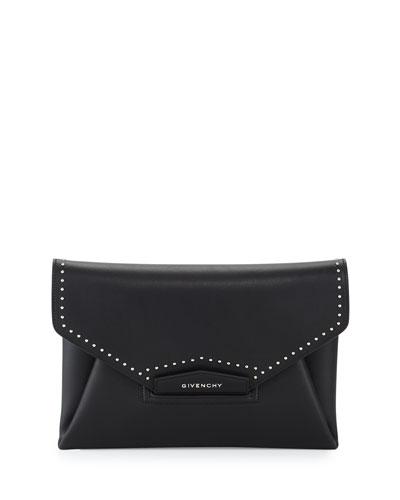 Antigona Medium Studs Couture Clutch Bag, Black
