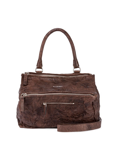 Pandora Medium Leather Satchel Bag, Dark Brown