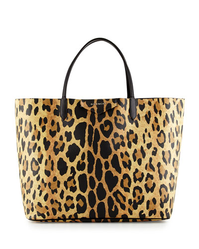 Antigona Large Leather Shopping Tote Bag, Animal Print