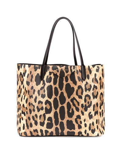 Antigona Small Leather Shopping Tote, Animal Print