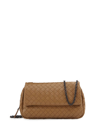 Intrecciato Small Chain Crossbody Bag, Camel