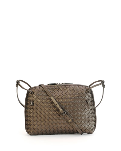 Veneta Small Woven Messenger Bag, Bronze