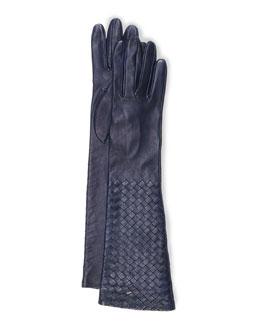 Intrecciato Napa Long Gloves, Royal Blue