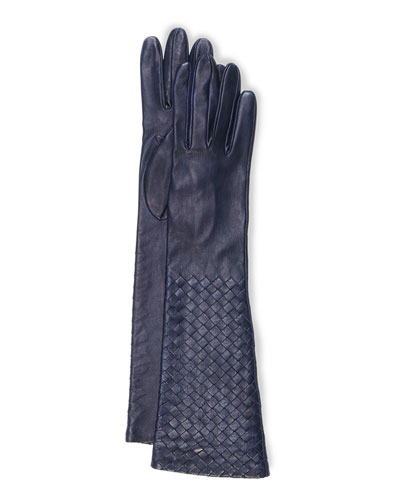 Intrecciato Napa Long Gloves, Royal Blue