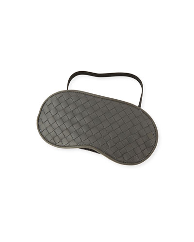 Intrecciato Leather Sleep Mask, Light Gray