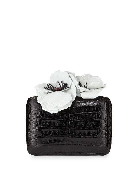 Poppy-Topped Crocodile Box Clutch Bag, Black/White