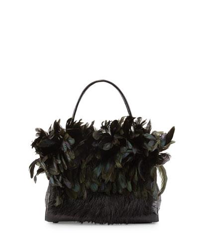 Wallis Medium Crocodile Bag w/Mink & Feather Trim