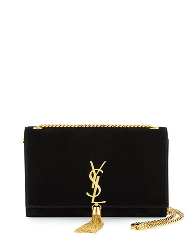 Monogram Medium Tassel Crossbody Bag, Black